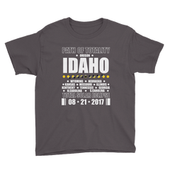 "Boys' Short Sleeve T-Shirt: ""Idaho"" PATH of TOTALITY Total Solar Eclipse 08-21-2017"