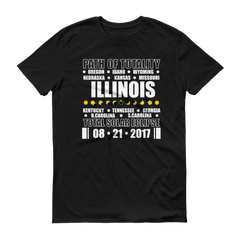"Men's Short Sleeve T-Shirt: ""Illinois"" PATH of TOTALITY Total Solar Eclipse 08-21-2017"
