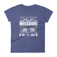 "Women's Short Sleeve T-Shirt: ""Missouri"" PATH of TOTALITY Total Solar Eclipse 08-21-2017"