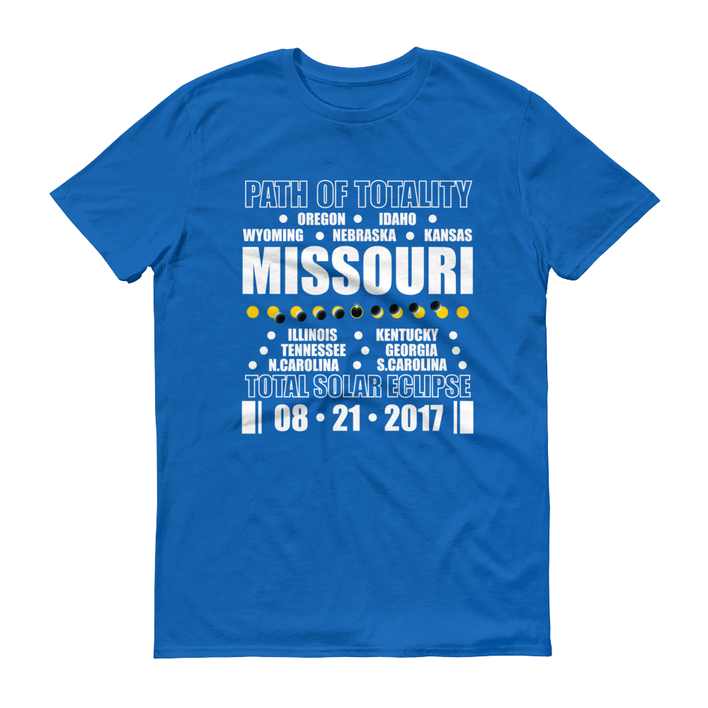 "Men's Short Sleeve T-Shirt: ""Missouri"" PATH of TOTALITY Total Solar Eclipse 08-21-2017"