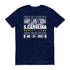 "Men's Short Sleeve T-Shirt: ""South Carolina"" PATH of TOTALITY Total Solar Eclipse 08-21-2017"
