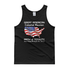 "Men's Tank Top: ""FLAG"" GREAT AMERICAN Celestial Reunion PATH of TOTALITY Solar Eclipse August 21, 2017"