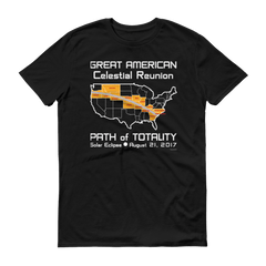 Men's Solar Eclipse Short Sleeve T-Shirt - USA - Great American Reunion - Path of Totality August 21, 2017
