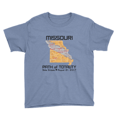 Boys Solar Eclipse Short Sleeve T-Shirt - Missouri - Path of Totality August 21, 2017