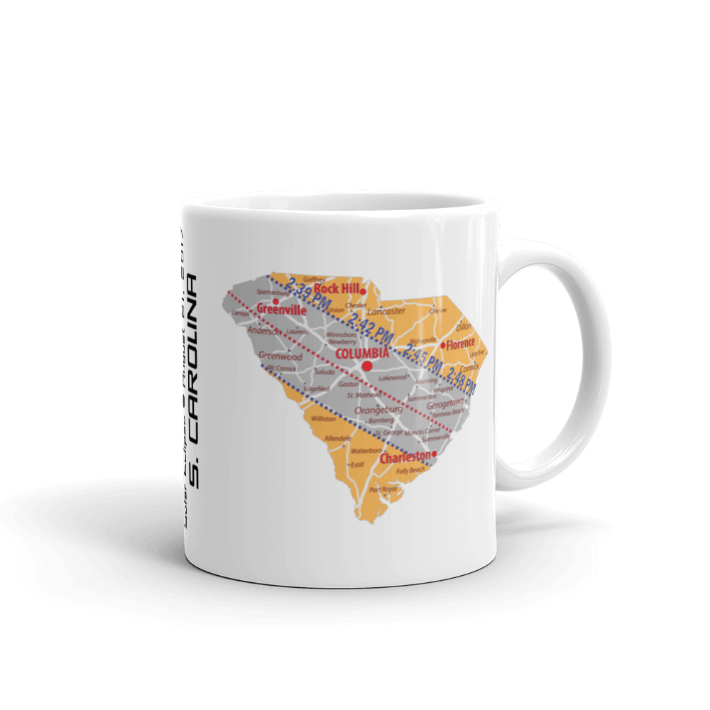 "Solar Eclipse Mug: ""South Carolina"" - PATH of TOTALITY August 21, 2017 (Made in USA)"