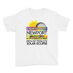 "Boys - Newport OR - Solar Eclipse Short Sleeve T-Shirt: ""Lights Out!"" PATH of TOTALITY 08-21-2017 w Actual Times"