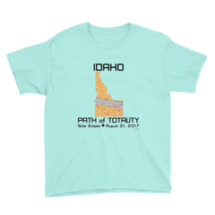 Boys Solar Eclipse Short Sleeve T-Shirt - Idaho - Path of Totality August 21, 2017 - Size XS, S, M, L, XL