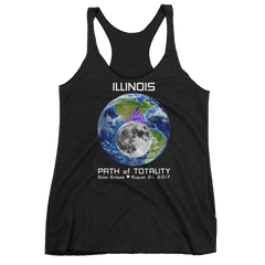 Women's Solar Eclipse Tank Top - Illinois - Earth/Moon - Path of Totality August 21, 2017