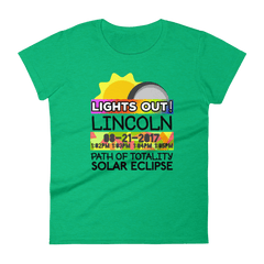 "Women's - Lincoln NE - Solar Eclipse Short Sleeve T-Shirt: ""Lights Out!"" PATH of TOTALITY 08-21-2017 w Actual Times"