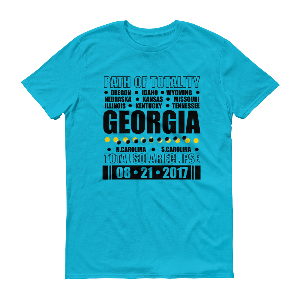 "Men's Short Sleeve T-Shirt: ""Georgia"" PATH of TOTALITY Total Solar Eclipse 08-21-2017"
