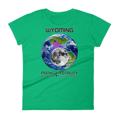 Women's Solar Eclipse Short Sleeve T-Shirt - Wyoming - Earth/Moon - Path of Totality August 21, 2017