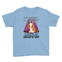 "Boys Solar Eclipse Short Sleeve T-Shirt - ""King Cavalier Dog"" Look! Up In The Sky August 21, 2017"