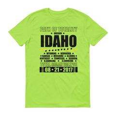 "Men's Short Sleeve T-Shirt: ""Idaho"" PATH of TOTALITY Total Solar Eclipse 08-21-2017"