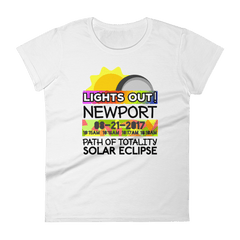 "Women's - Newport- Solar Eclipse Short Sleeve T-Shirt: ""Lights Out!"" PATH of TOTALITY 08-21-2017 w Actual Times"