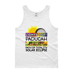 "Men's - Paducah KY - Solar Eclipse Tank Top: ""Lights Out!"" PATH of TOTALITY 08-21-2017 w Actual Times"