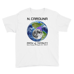 Boys' Solar Eclipse Short Sleeve T-Shirt - N. Carolina - Earth/Moon - Path of Totality August 21, 2017