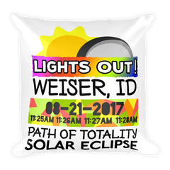 Solar Eclipse Throw Pillow: WEISER ID PATH of TOTALITY August 21, 2017