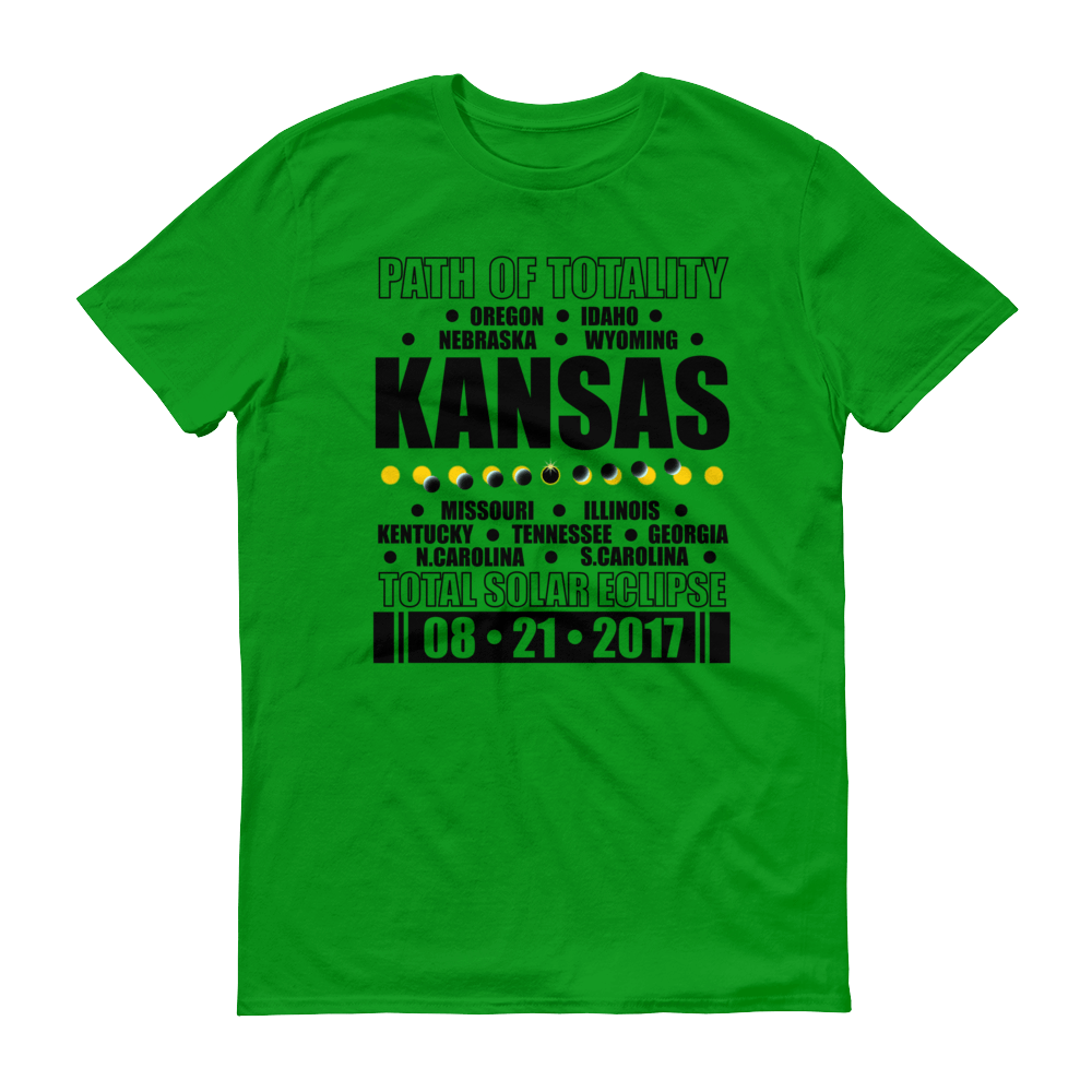 "Men's Short Sleeve T-Shirt: ""Kansas"" PATH of TOTALITY Total Solar Eclipse 08-21-2017"