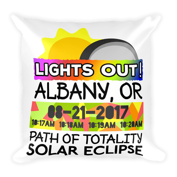 Solar Eclipse Throw Pillow: ALBANY OR PATH of TOTALITY August 21, 2017