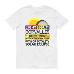 "Men's - Corvallis OR - Solar Eclipse Short Sleeve T-Shirt: ""Lights Out!"" PATH of TOTALITY 08-21-2017 w Actual Times"