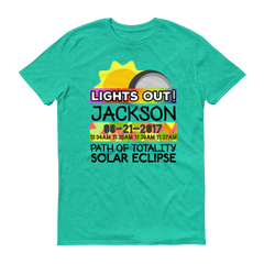 "Men's - Jackson WY - Solar Eclipse Short Sleeve T-Shirt: ""Lights Out!"" PATH of TOTALITY 08-21-2017 w Actual Times"