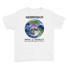 Boys' Solar Eclipse Short Sleeve T-Shirt - Nebraska - Earth/Moon - Path of Totality August 21, 2017