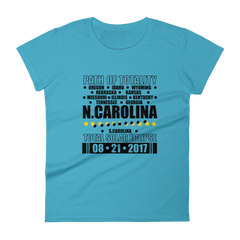 "Women's Short Sleeve T-Shirt: ""North Carolina"" PATH of TOTALITY Total Solar Eclipse 08-21-2017"