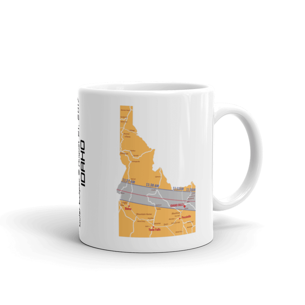 "Solar Eclipse Mug: ""Idaho"" -MAP- PATH of TOTALITY August 21, 2017 (Made in USA)"
