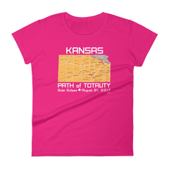Women's Solar Eclipse Short Sleeve T-Shirt - Kansas - Path of Totality August 21, 2017