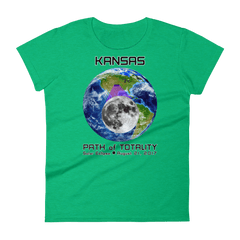 Women's Solar Eclipse Short Sleeve T-Shirt - Kansas - Earth/Moon - Path of Totality August 21, 2017