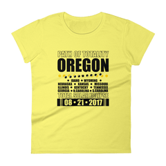"Women's Short Sleeve T-Shirt: ""Oregon"" PATH of TOTALITY Total Solar Eclipse 08-21-2017"