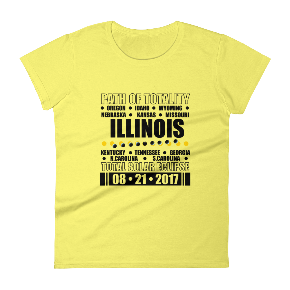 "Women's Short Sleeve T-Shirt: ""Illinois"" PATH of TOTALITY Total Solar Eclipse 08-21-2017"