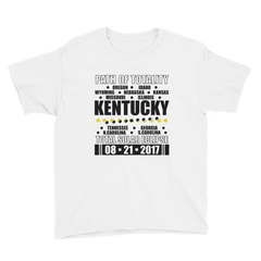 "Boys' Short Sleeve T-Shirt: ""Kentucky"" PATH of TOTALITY Total Solar Eclipse 08-21-2017"