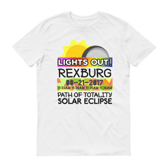 "Men's - Rexburg ID - Solar Eclipse Short Sleeve T-Shirt: ""Lights Out!"" PATH of TOTALITY 08-21-2017 w Actual Times"