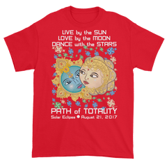 Men's Solar Eclipse Short Sleeve T-Shirt - Krishna & Radha - Live Love Dance Path of Totality August 21, 2017