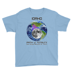 Boys' Solar Eclipse Short Sleeve T-Shirt - Idaho - Earth/Moon - Path of Totality August 21, 2017