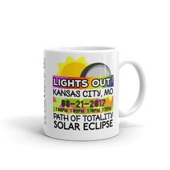 "Solar Eclipse Mug: ""Kansas City MO"" PATH of TOTALITY August 21, 2017 (Made in USA)"