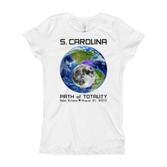 Girls Solar Eclipse Short Sleeve T-Shirt - S. Carolina - Earth/Moon - Path of Totality August 21, 2017
