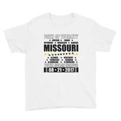 "Boys' Short Sleeve T-Shirt: ""Missouri"" PATH of TOTALITY Total Solar Eclipse 08-21-2017"