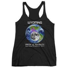 Women's Solar Eclipse Tank Top - Wyoming - Earth/Moon - Path of Totality August 21, 2017