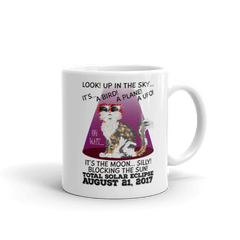 "Solar Eclipse Mug - ""Calico Cat"" Look! Up In The Sky August 21, 2017 (Made in USA)"