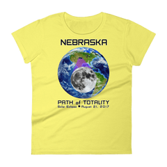 Women's Solar Eclipse Short Sleeve T-Shirt - Nebraska - Earth/Moon - Path of Totality August 21, 2017