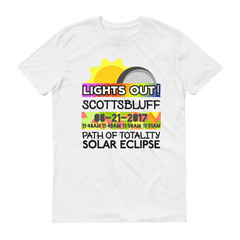 "Men's - Scottsbluff NE- Solar Eclipse Short Sleeve T-Shirt: ""Lights Out!"" PATH of TOTALITY 08-21-2017 w Actual Times"