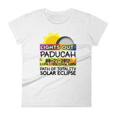 "Women's - Paducah KY - Solar Eclipse Short Sleeve T-Shirt: ""Lights Out!"" PATH of TOTALITY 08-21-2017 w Actual Times"