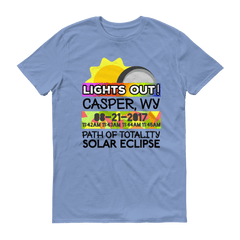 "Men's - Casper WY - Solar Eclipse Short Sleeve T-Shirt: ""Lights Out!"" PATH of TOTALITY 08-21-2017 w Actual Times"