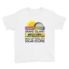 "Boys - Grand Island NE - Solar Eclipse Short Sleeve T-Shirt: ""Lights Out!"" PATH of TOTALITY 08-21-2017 w Actual Times"