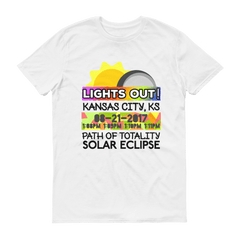 "Men's - Kansas City KS - Solar Eclipse Short Sleeve T-Shirt: ""Lights Out!"" PATH of TOTALITY 08-21-2017 w Actual Times"