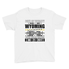 "Boys' Short Sleeve T-Shirt: ""Wyoming"" PATH of TOTALITY Total Solar Eclipse 08-21-2017"