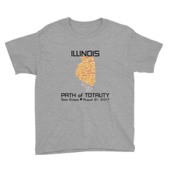 Boys Solar Eclipse Short Sleeve T-Shirt - Illinois - Path of Totality August 21, 2017 - Size S, M, L, XL, XS