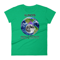 Women's Solar Eclipse Short Sleeve T-Shirt - Illinois - Earth/Moon - Path of Totality August 21, 2017